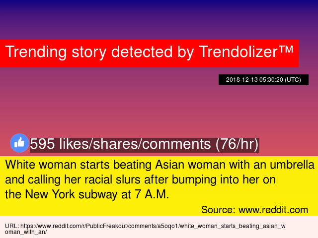 White woman starts beating Asian woman with an umbrella and