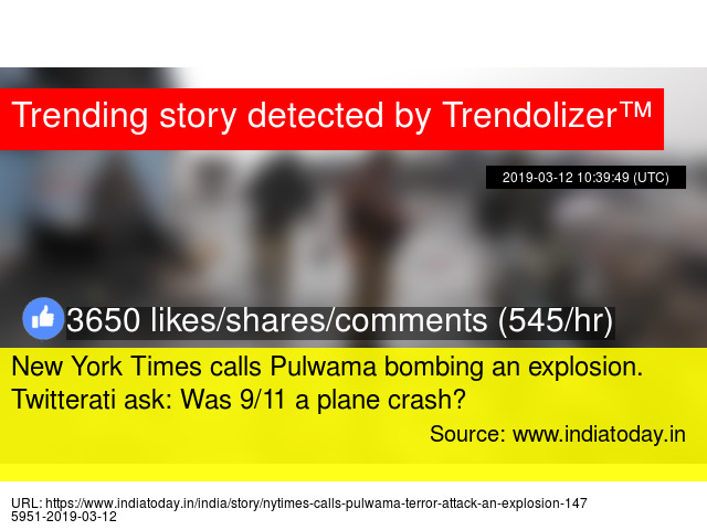 New York Times calls Pulwama bombing an explosion