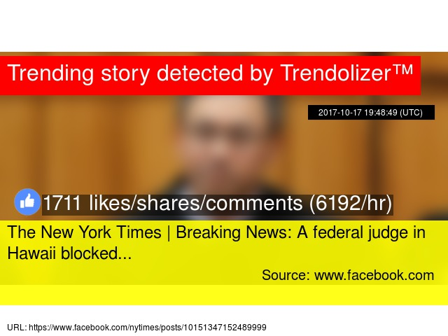 the new york times breaking news a federal judge in hawaii blocked